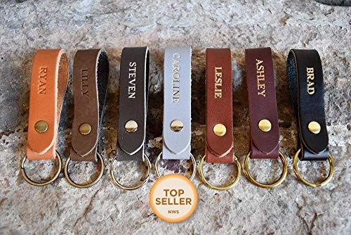 (Personalized Custom Leather Keychain | Any Name — Great Gift for Men or Women | Many Colors & Styles | Hand-Made in MN, USA | Free Shipping)