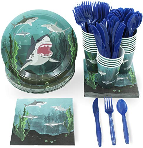 Juvale Shark Party Supplies - Serves 24 - Includes Plates, Knives, Spoons, Forks, Cups and Napkins. Perfect Shark Birthday Party Pack for Kids Ocean, Nautical and Shark Themed Parties]()