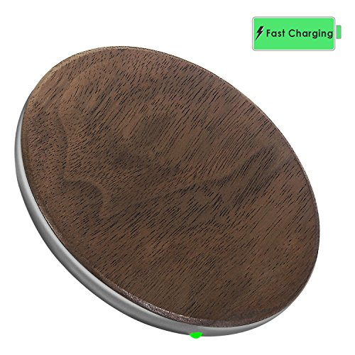 Wireless Charger, KADES Wood Wireless Charging Pad for iPhone 8/8 Plus, iPhone X, Fast-Charging for Galaxy S9/S9+/S8/S8+/S7/Note8 (AC Adapter not included), Black Walnut/Space Gray