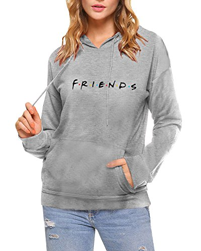 AEURPLT Womens Teen Girls Friends TV Show Hoodies Fall Winter Hooded Sweatshirts Fleece Pullover Tops,Hooded Grey,Medium (Yellow Picture Frame From Friends)