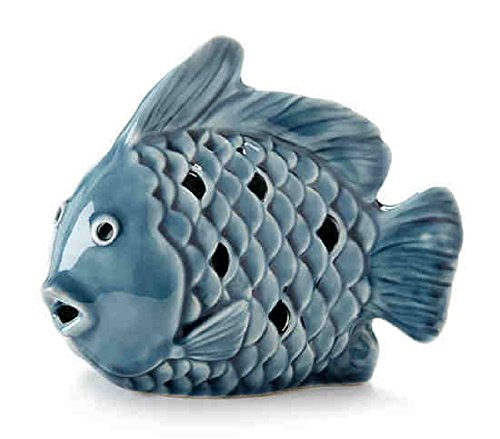 Delton Products 6.5 inches x 5 inches Blue Porcelain Fish Tealight Holder Home Decor -