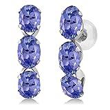 Gem Stone King 14K White Gold Oval Blue Tanzanite Earrings Gemstone Birthstone 2.70 Ctw