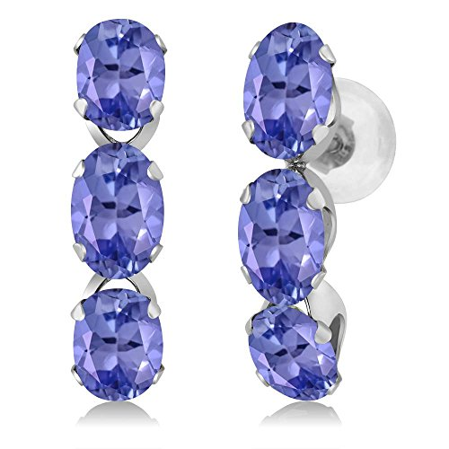 Gem Stone King 14K White Gold Oval Blue Tanzanite Earrings Gemstone Birthstone 2.70 Ctw