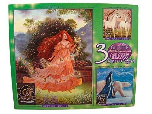 Glitter & Glow 3 Pack Jigsaw Puzzles: 100 - 300 - 500 Pieces - Summer Fairy - Snow Princess and Polar Bear - Unicorn Love