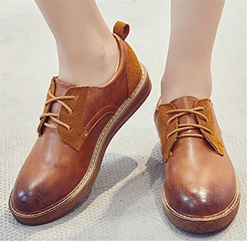 Up Platform Women for SATUKI Shoe Heel Dress Casual Oxford Lace Shoes Brown q0wgpx4