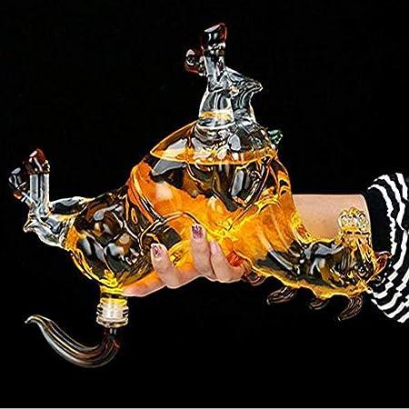 Angelay-Tian Decantadores, Decantador de Whisky, Decantador de Caballos, Artesanía Botella de Vino Caballo Copa de Vino Botella de Vino Forma Animal High Boron Glass 1000ml