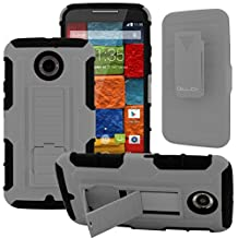 Moto X2 Case, CellJoy [Future Armor] {Wolf Gray} Motorola Moto X 2nd Generation / X+1 2014 Release Model Case (WILL NOT FIT MOTO X 1st Gen) Hybrid Ultra Fit Dual Protection [Heavy Duty] Kickstand Holster **Shock-proof** [Belt Clip Holster Combo] - Robot Case Cover