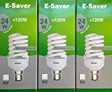 Pack of 3, E-Saver CFL Full Spiral, 24w = 120 watt, Warm White 2700k, Compact Fluorescent Lamp, Bayonet Cap (BC, B22, B22d) 1450 Lumen, T2, 80%-85% Energy Saving Light Bulb, Flicker Free, 10,000 Hours Life Time
