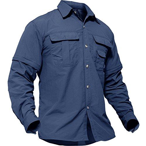 研究作曲するスロベニアTACVASEN アウトドア メンズ シャツ 長袖 ミリタリー タクティカル BDU tシャツ 登山 速乾 取り外し可能 半袖