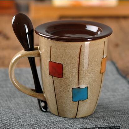 Nice mug gift--Mecai DIY hand drawn Coffee Mugs / Novelty Ceramic Hot Beverage Drinkware Cups with spoon and lid-Khaki for Wife mom sister girl friend
