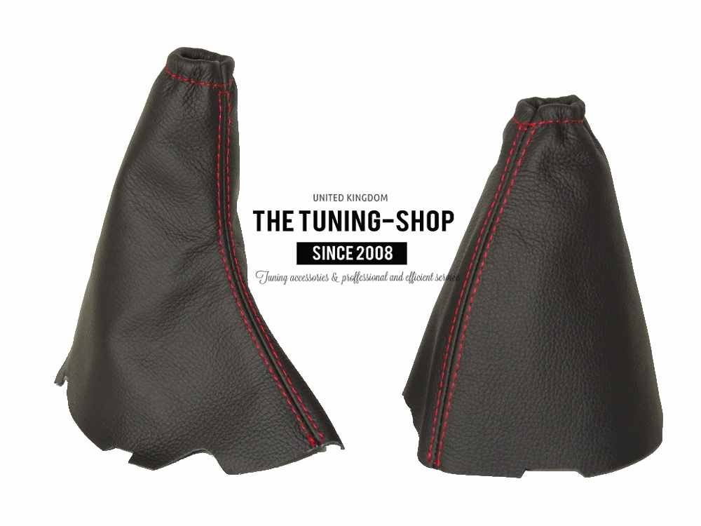 The Tuning-Shop Ltd For Ford Focus Ii 2004-08 Shift /& E Brake Boot Black Italian Leather Blue Stitching