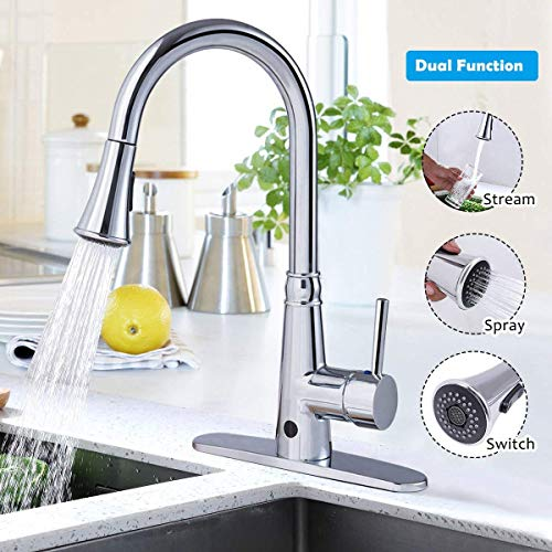 Giantex Motionsense Touchless Single-Handle Pull-Down High Arc Rotatable Kitchen Faucet w/Dual Sprayer Hot Cold Water Mixer (Chrome) by Giantex (Image #1)