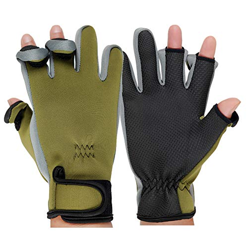 JZYML Outdoor Winter Fishing Gloves Waterproof Mitten Three Fingers Cut Anti-Slip Climbing Glove Hiking Camping Riding Gloves (Green, X-Large)