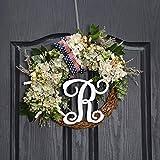 QUNWREATH Handmade Floral 14 inch Green,White Hydrangea Series,Leaf,Berry,Flag Bow,R Letter Fall Wreath,Wreath for Front Door,Rustic Wreath,Farmhouse Wreath,Light up Wreath,Everyday Wreath,QUNW14