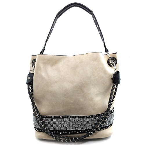 Justin West Concealed Carry Rhinestone Bling Crystal Pastel Cross Body Large Handbag Tote Purse Black Makeup Pouch Bag Wallet (Beige -