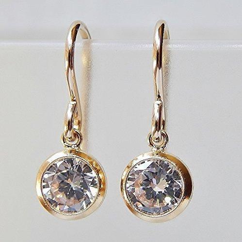 - Bezel CZ Dangle Earrings Gold Filled
