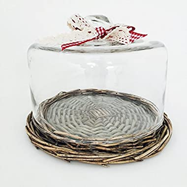 The Farmhouse Cake and Cheese Dome Set, with Ribbon, Woven Wicker Bottom and Glass Plate Inset, 3 Piece Set, 6 1/2 H x 8 1/4D  By Whole House Worlds