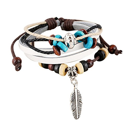Lowpricenice(TM) Newest Fashion Womens Multilayer Handmade Wristband Leather Wooden Beads Good Gift Bracelet Bangle (White)