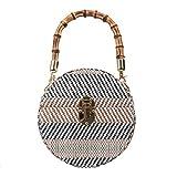 Fawziya Straw Clutch Evening Bags Bamboo Handles Purse And Handbags-Blue