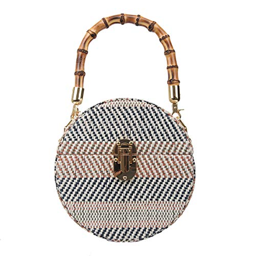 Box Women Bag Blue Clutch Bonjanvye Handle Bamboo Weave Evening w6tqCpFxC