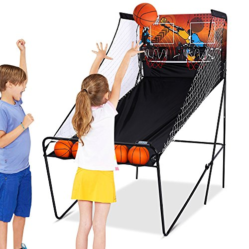 ANCHEER Basketball Hoop Game Indoor - Electronic Basketball Shot Arcade Game for Kids - 2 players with 8 Game Options and 5 Balls (Electronic Basketball Hoops)