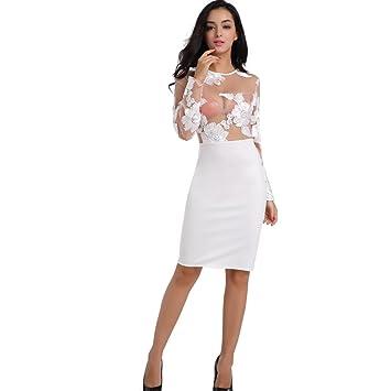 Vestido blanco con flores manga larga