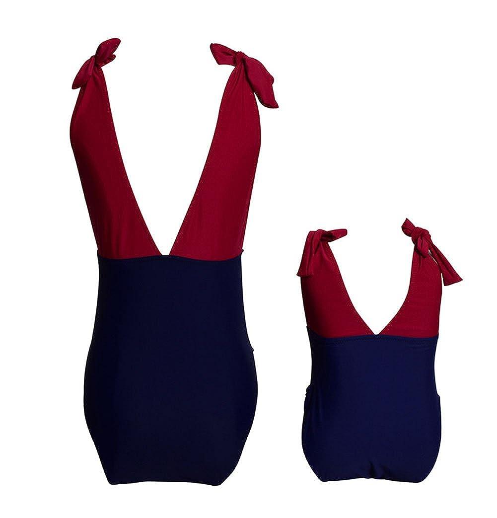 Mommy and Me Swimwear 2 Pieces Bikini Set Family Matching Swimsuit High Waisted Bikini Set Girls Swimwear