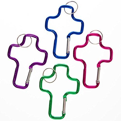 Fun Express - Aluminum Cross Clip Key Chains - Bulk (1-Pack of 12) -