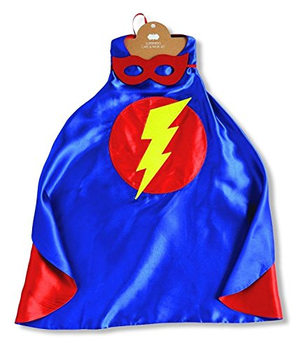 [Mud Pie Boys Satin Super Hero Cape Lightning Bolt and Reversible Felt Mask] (Lightning Bolt Costumes)