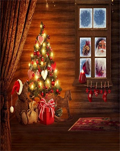 Laeacco 4x5FT Vinyl Photography Christmas Tree Interior Decorations Toys Gifts Curtain Window Santa Claus Coming Greeting Wishes Newborn Baby Kids Infant Girls Photo Portraits Video Studio Props (Christmas Portrait Santa Claus)