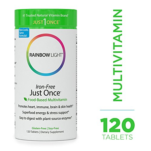 - Rainbow Light - Just Once Iron-Free Multivitamin - Food-based, Natural Ingredients, Provides Key Vitamins, Minerals, Antioxidant Protection, Supports Energy, Skin, Eye and Immune Health - 120 Tablets