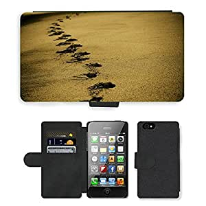 Super Stella Cell Phone Card Slot PU Leather Wallet Case // M00421520 Sand Footsteps Footprints Beach // Apple iPhone 4 4S 4G