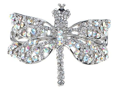 Alilang Womens Silvery Tone Clear Rhinestones Dragonfly Heart Cutout Bangle Bracelet by Alilang