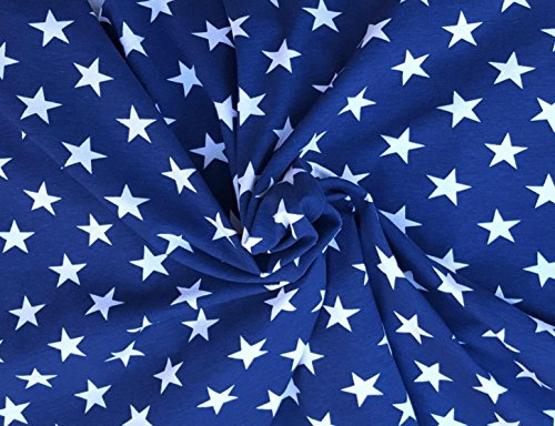 Patriotic Cotton Fabric Stars (White Stars on Blue Fabric Cotton Spandex Jersey Knit by the Yard 4 Way)