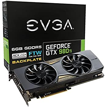 EVGA GeForce GTX 980 Ti 6GB FTW GAMING ACX 2.0+, Whisper Silent Cooling w/Free Installed Backplate Graphics Card 06G-P4-4996-KR