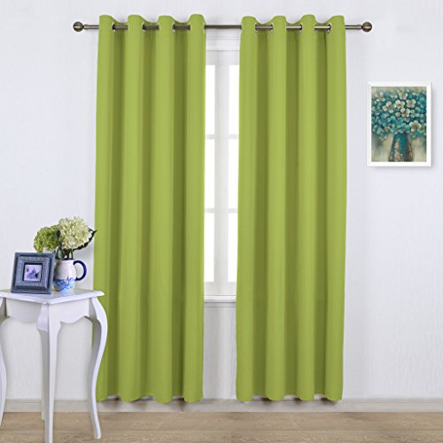 Green Window Curtain (NICETOWN Green Blackout Draperies Curtains - Window Treatment Thermal Insulated Solid Grommet Blackout Curtains / Drapes for Bedroom (Set of 2 Panels, 52 by 84 Inch, Fresh Green))