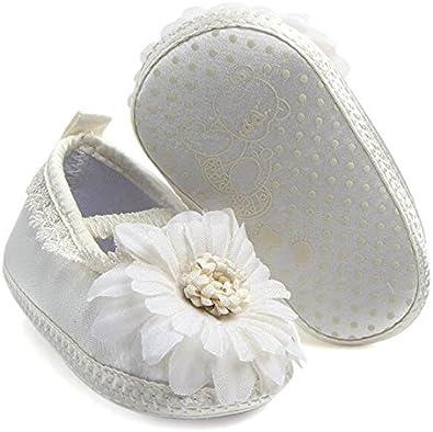 LFHT Baby Girl Infant Satin Flower Mary Jane Baptism Shoes Dance Ballerina Slippers