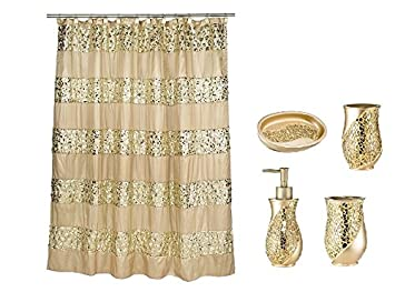 Amazon Popular Bath 5 Piece Sinatra Champagne And Gold Shower Curtain Resin Accessory Set Home Kitchen
