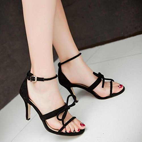 Sweet Sandals Black TAOFFEN Fashion Women Ankle Shoes Bow Strap Stiletto vqaIX6awg