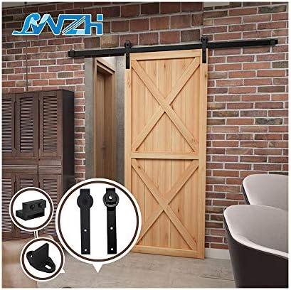 6FT/183cm Sliding Barn Door Hardware Barn Door Kit Sliding Door Kit for Single Barn Door,Black J-Shaped Hangers