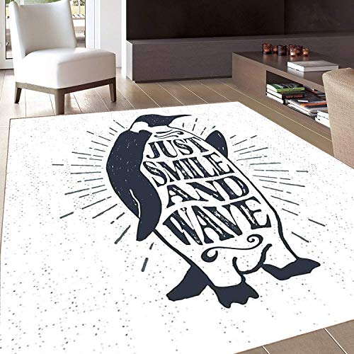 - Rug,Floor Mat Rug,Quote,Area Rug,Penguin Waving His Flipper and Just Smile and Wave Text in The Belly,Home mat,5'x6'Dark Blue Grey and White,Rubber Non Slip,Indoor/Front Door/Kitchen and Living Room/B
