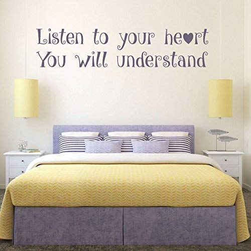 BYRON HOYLE Quote Wall Decals, Listen to Your Heart, Vinyl Wall Decals, Teenage Girls Room Decor, Master Bedroom Wall Art, Pocahontas,