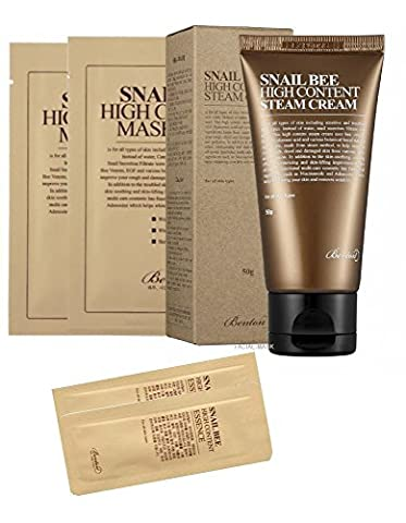 Benton Snail Bee High Content Steam Cream 50g with 2 Benton Masks and Benton Essence Samples (Snail Bee Essence)
