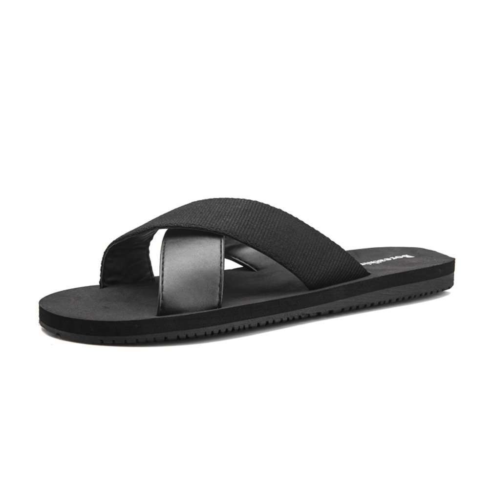 Sherry Love Mens Summer Lightweight Indoor Outdoor Slippers Open Toe Slippers for Men use-Black-US 8/Men