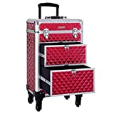 SONGMICS Rolling Trolley Makeup Train Case, 2 Large Sliding Drawers, 2 Trays with Removable Dividers, 4 Removable Universal Wheels, Lockable Aluminum Cosmetic Case for Easy Travel Red UJHZ08RD