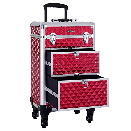 SONGMICS Rolling Trolley Makeup Train Case, with Large Sliding Drawers, with Removable Dividers, 4 Removable Universal Wheels for Easy Portable Travel, Lockable Aluminum Case XL, Red UJHZ08RD