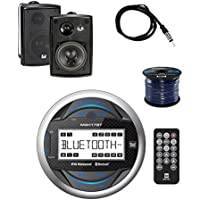Dual Gauge Hole Mount MP3 USB Bluetooth Receiver W/ Dual 100W 3-way White In/Outdoor Box Speakers Pair, Enrock Audio Marine 50 16G Speaker Wire & Enrock Marine Antenna-Braided Cable-Weather Resistant