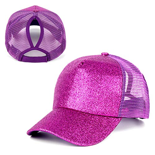 Women Ponytail Baseball Cap Glitter Purple Messy Bun Ponytail Hat Ponycaps Dad Hat