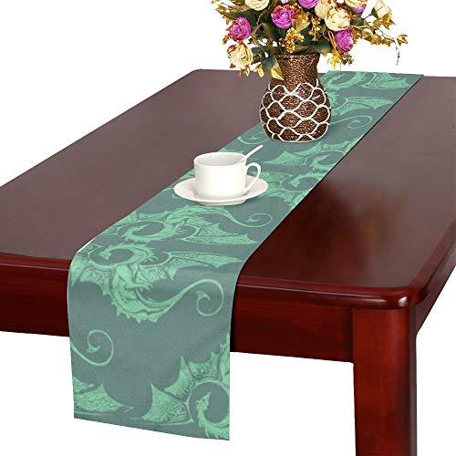 WHIOFE Qinglong Chinese Style Mascot Fierce Table Runner, Kitchen Dining Table Runner 16 X 72 Inch for Dinner Parties, Events, Decor