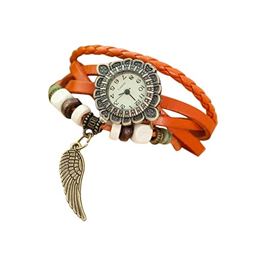 Nikgic 1pc Reloj de Pulsera de Mujer Vintage Reloj de Pulsera de alas Mesa de Estudiante de Moda (Naranja): Amazon.es: Relojes